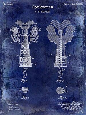 1886 Corkscrew Patent Drawing Blue Poster by Jon Neidert