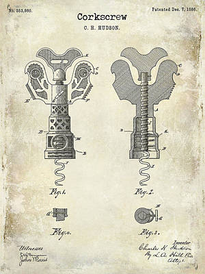 1886 Corkscrew Patent Drawing Poster by Jon Neidert