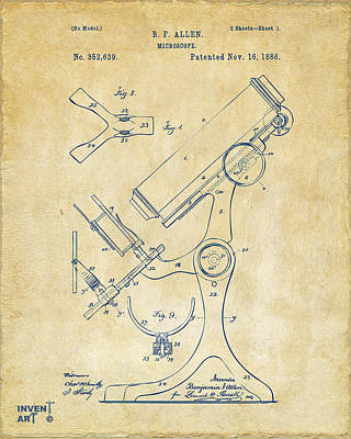 1886 Microscope Patent Artwork - Vintage Poster