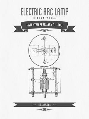 1886 Nikola Tesla Electric Arc Lamp Patent Patent Drawing - Retr Poster