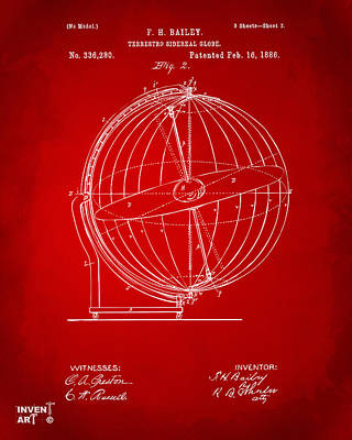 1886 Terrestro Sidereal Globe Patent 2 Artwork - Red Poster by Nikki Marie Smith
