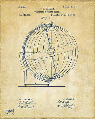 1886 Terrestro Sidereal Globe Patent 2 Artwork - Vintage Poster