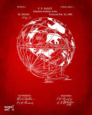 1886 Terrestro Sidereal Globe Patent Artwork - Red Poster by Nikki Marie Smith