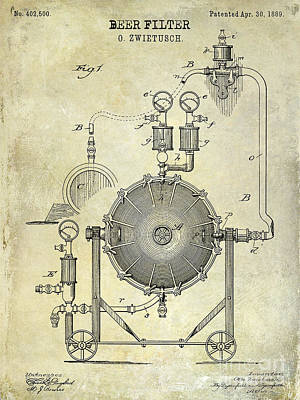1889 Beer Filter Patent Drawing Poster