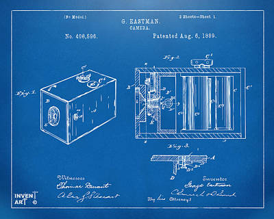 1889 George Eastman Camera Patent Blueprint Poster by Nikki Marie Smith
