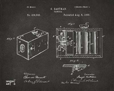 1889 George Eastman Camera Patent Gray Poster by Nikki Marie Smith