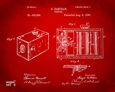 1889 George Eastman Camera Patent Red Poster by Nikki Marie Smith