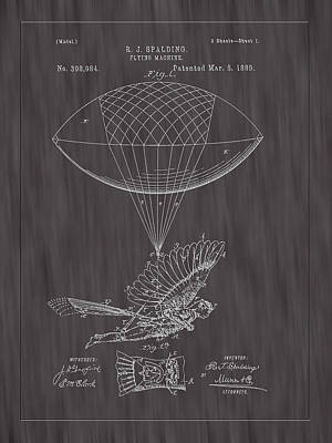 1889 Spalding Flying Machine Patent Art-black Woodgrain Poster