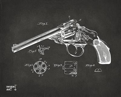 1889 Wesson Revolver Patent Minimal - Gray Poster