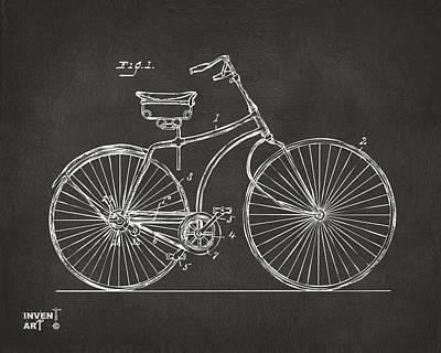1890 Bicycle Patent Minimal - Gray Poster