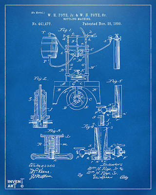 1890 Bottling Machine Patent Artwork Blueprint Poster by Nikki Marie Smith