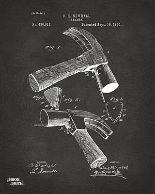 1890 Hammer Patent Artwork - Gray Poster by Nikki Marie Smith