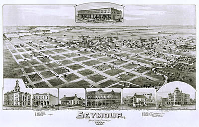 1890 Vintage Map Of Seymour Texas Poster by Stephen Stookey