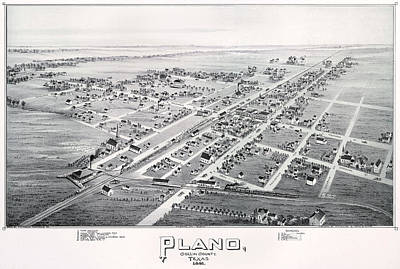 1890 Vintage Map Of Plano Texas Poster