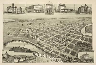 1890 Wichita Falls Texas Map Poster