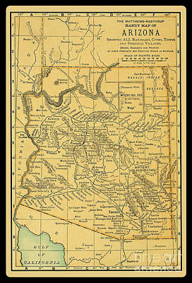 1891 Arizona Map Poster by Phil Cardamone