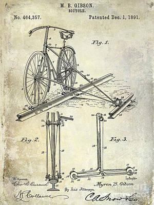 1891 Bicycle Patent Drawing Poster by Jon Neidert