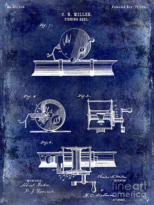 1891 Fishing Reel Patent Drawing Blue Poster