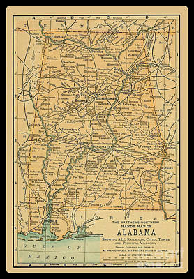 1891 Map Of Alabama Poster by Phil Cardamone