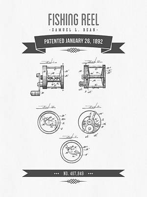 1892 Fishing Reel Patent Drawing Poster by Aged Pixel