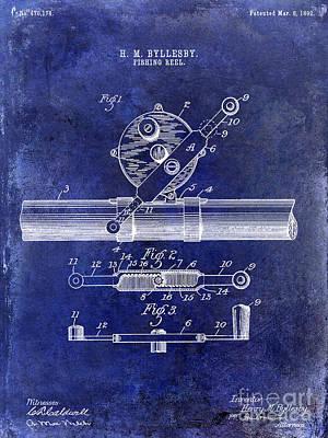 1892 Fishing Reel Patent Drawing Blue Poster by Jon Neidert