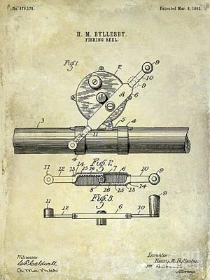 1892 Fishing Reel Patent Drawing  Poster by Jon Neidert