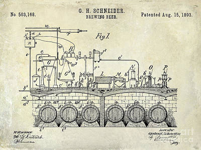 1893 Beer Brewing Patent Drawing Poster by Jon Neidert