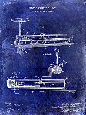 1893 Cigar Makers Gage Patent Drawing Blue Poster by Jon Neidert