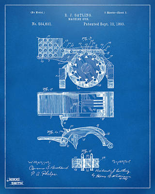 1893 Gatling Machine Gun Feed Patent Artwork - Blueprint Poster by Nikki Marie Smith