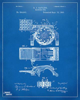 1893 Gatling Machine Gun Feed Patent Artwork - Blueprint Poster