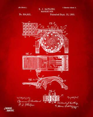 1893 Gatling Machine Gun Feed Patent Artwork - Red Poster