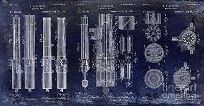 1893 Gatling Machine Gun Patent Drawing Blue Poster