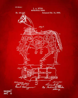 1893 Mechanical Horse Toy Patent Artwork Red Poster by Nikki Marie Smith