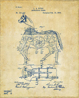 1893 Mechanical Horse Toy Patent Artwork Vintage Poster by Nikki Marie Smith