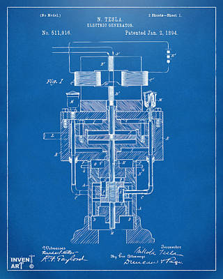 Poster featuring the drawing 1894 Tesla Electric Generator Patent Blueprint by Nikki Marie Smith