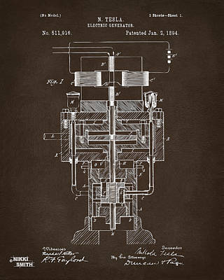 Poster featuring the drawing 1894 Tesla Electric Generator Patent Espresso by Nikki Marie Smith