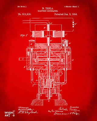 Poster featuring the drawing 1894 Tesla Electric Generator Patent Red by Nikki Marie Smith