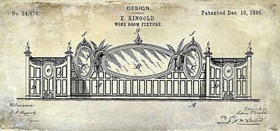 1895 Wine Room Fixture Design Patent Poster by Jon Neidert