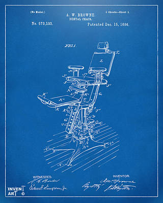 1896 Dental Chair Patent Blueprint Poster by Nikki Marie Smith