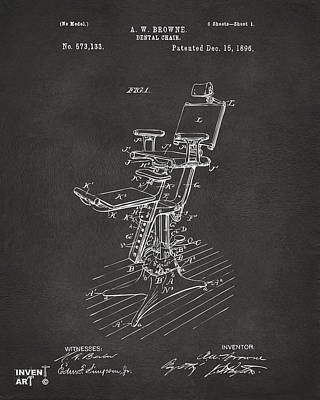 1896 Dental Chair Patent Gray Poster by Nikki Marie Smith