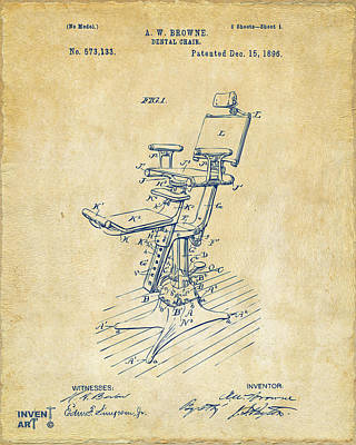 1896 Dental Chair Patent Vintage Poster by Nikki Marie Smith