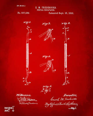 1896 Dental Excavator Patent Red Poster by Nikki Marie Smith