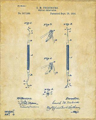 1896 Dental Excavator Patent Vintage Poster by Nikki Marie Smith