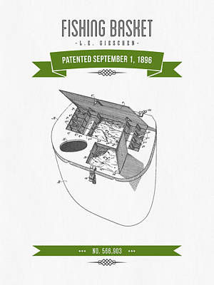 1896 Fishing Basket Patent Drawing - Green Poster by Aged Pixel