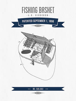 1896 Fishing Basket Patent Drawing - Navy Blue Poster by Aged Pixel
