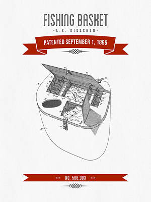 1896 Fishing Basket Patent Drawing - Red Poster by Aged Pixel