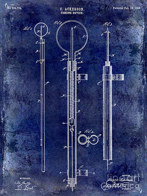 1896 Fishing Device Patent Drawing Blue Poster