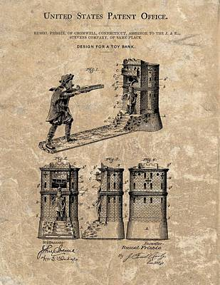 1896 Toy Bank Patent Poster by Dan Sproul
