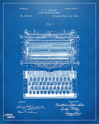 1896 Type Writing Machine Patent Artwork - Blueprint Poster