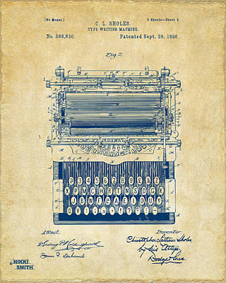 1896 Type Writing Machine Patent Artwork - Vintage Poster